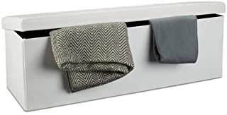 Relaxdays Banco plegable Baúl de almacenaje Cuero sintético 38 x 114 x 38 cm Blanco