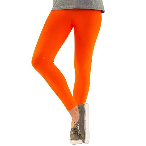Blickdichte Damen Leggings aus Baumwolle Leggins Knöchellang in schwarz weiß grün grau rot gelb, Farbe: Orange, Größe: 44-46 (2XL)