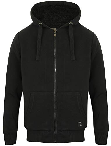 Bolo 2 Zip Through Hoodie With Borg Lining In Black