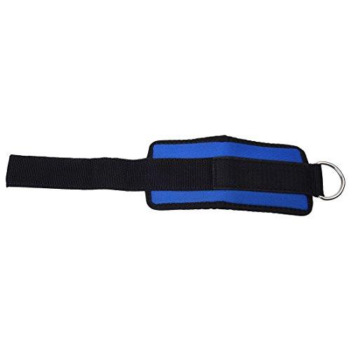 TOOGOO Correa de tobillo Accesorio de gimnasia de mantenimiento del gimnasio del deporte de D –anillo Levantamiento de pesad Polea de pierna muslo Azul Negro