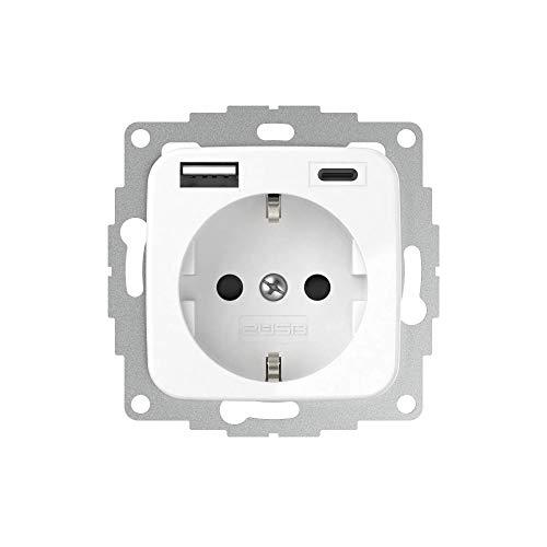 2USB inCharge PRO SI A/C USB-Steckdose, mit integriertem USB Ladegerät (max. 5V/3A/15W) & ChargeMAX Schnellladetechnik, 1xUSB-A + 1xUSB-C Anschluss, VDE zertifiziert (Reinweiß glänzend)