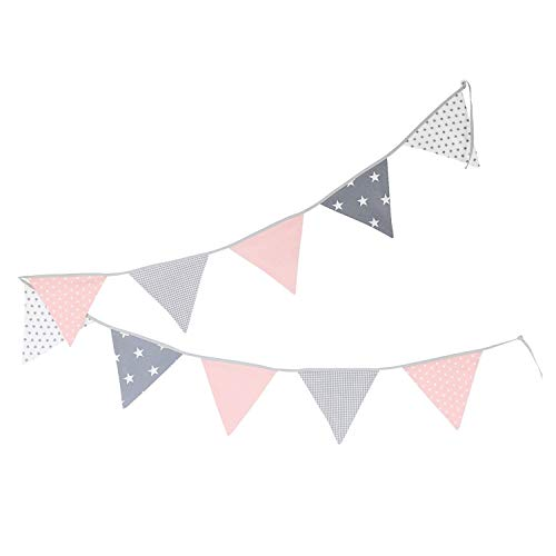 100% Cotton Fabric Bunting Flag Garland Pennant Banner by ULLENBOOM | Star/Checkered | Baby Shower/Party/Nursery | 11 Ft - Girls Pink/Grey