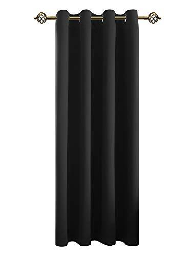 FLOWEROOM Verdunkelungsvorhang Blickdichte Vorhänge - Licht&urchlässige Vorhang mit Ösen für Schlafzimmer Geräuschreduzierung Schwarz 245x140cm(HxB), 1 Stück