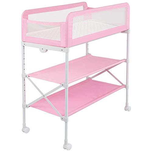 Klappbarer Wickeltisch mit Polster und Sicherheitsgurt Kindermädchen Jungen Windel Station mit Lagerung Windelstation Kindergarten Veranstalter (Color : Pink)