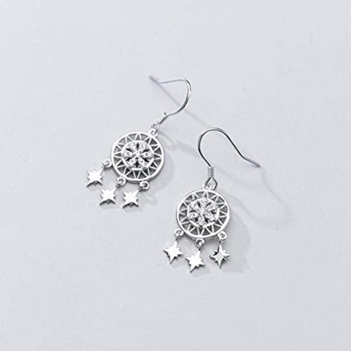 Good dress Pendientes de plata S925 personalizados de copo de nieve, estrella corta y diamante redondos para mujer, par de plata S925