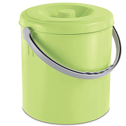 Mülleimer 10 Liter mit Henkel und verschließbarem Deckel limette • Mülltonne Abfalleimer Eimer Papierkorb Abfallkorb Recycling 10L