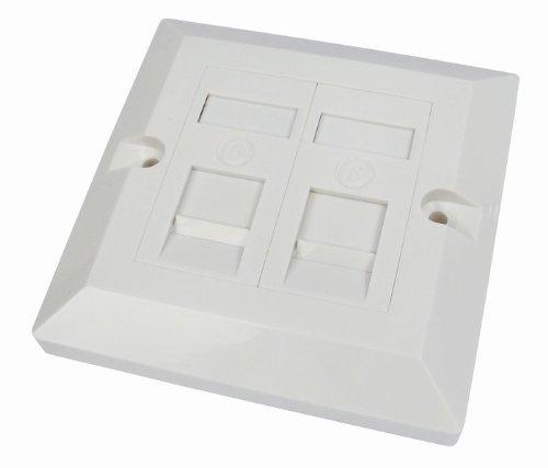 Rhinocables Placa frontal de pared para red Gigabit Ethernet, toma individual y doble, conector RJ45, para CAT5e, CAT6 CAT6a, 1, 2 y 4 puertos. (2 puertos)
