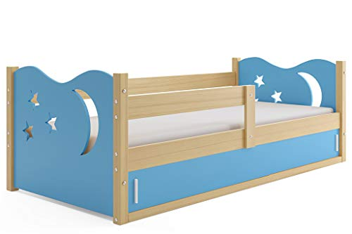 Interbeds Children's single bed NIKO_1 160 x 80 pine + variations, colored tops, sliding doors, wooden slatted base, without mattress (Blue)