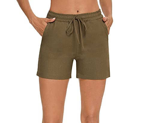 Akalnny Women Comfy Drawstring Casual Elastic Waist Cotton Shorts with Pockets (S, Army-Green)