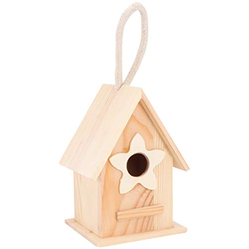 EXCEART Wooden Birdhouses Hanging Unfinished Birdhouse Garden Hanging Bird House Decoration for Home Gardening Garden Patio