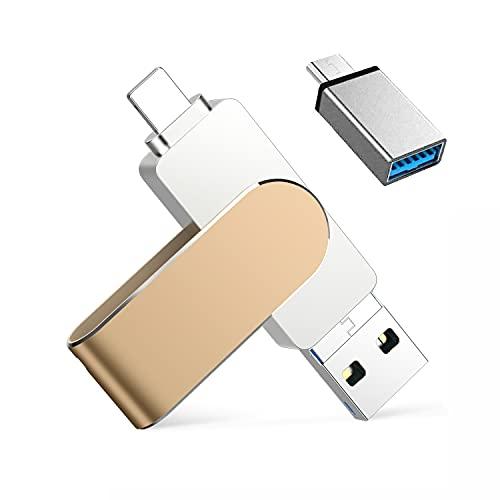 Memoria USB Compatible con iPhone 128 GB , Qarunt 4 en 1 USB 3.0 OTG Pendrive Memory Stick Externa para Tipo C USB C iPad Android Laptops Smartphone Macbook iOS