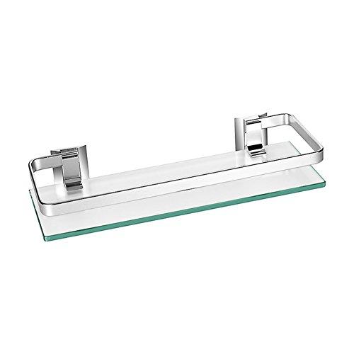 Estante de cristal templado grueso y aluminio Homeself, para montar en la pared del baño, cocina, etc., estante de almacenamiento, vidrio, 1 estante