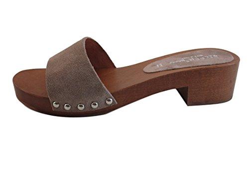 Silfer Shoes Zueco para mujer de auténtica madera – auténtica piel de ante, color beige – Moreno – Ideal también para estar en casa Beige Size: 39 EU