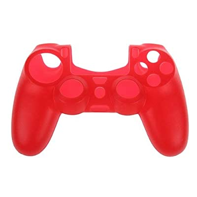 OSTENT Protective Silicone Gel Soft Case Cover Pouch Sleeve Compatible for Sony PS4 Controller - Color Red
