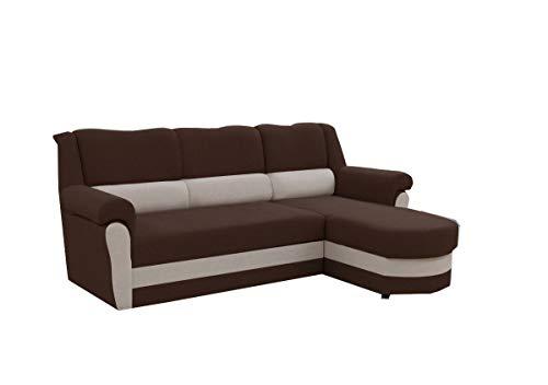 mb-moebel kleines Ecksofa Sofa Eckcouch Couch mit Schlaffunktion und Bettkasten Ottomane L-Form Schlafsofa Bettsofa Polstergarnitur Cannes (Braun + Beige...