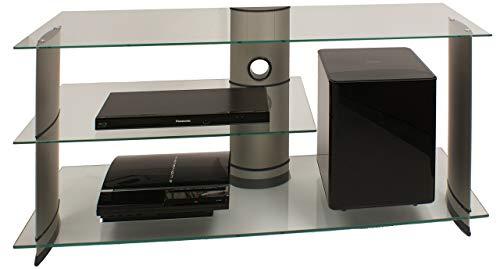 """VCM TV Rack Lowboard Konsole Fernsehtisch LCD LED Möbel Bank Glastisch Tisch Schrank Aluminium Glas Silber \""""Subuso\"""""""