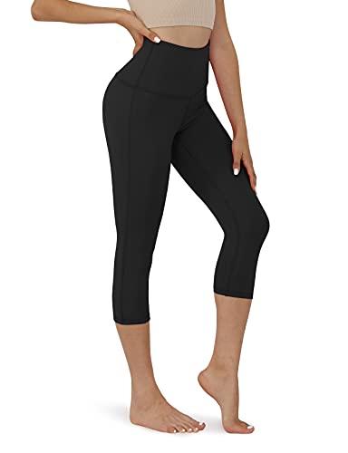 ODODOS Women's High Waist Yoga Capris, Tummy Control Yoga Leggings with Inner Pocket, Non See-Through 4 Way Stretch Workout Running Capris,Black,XX-Large