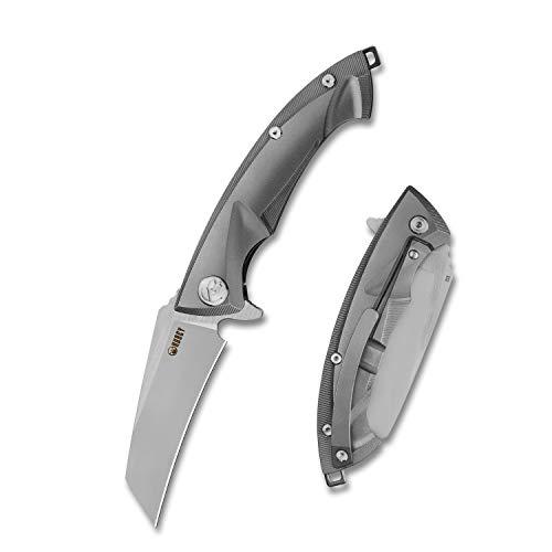 KUBEY KU153 Klappmesser Anteater Tanto Messer - Titanium Outdoor-Messer Aus D2 Carbonstahl - Scharfes Taschenmesser für Camping & Wandern - Survival-Messer & Einhandmesser mit Gürteltasche (Grau_)