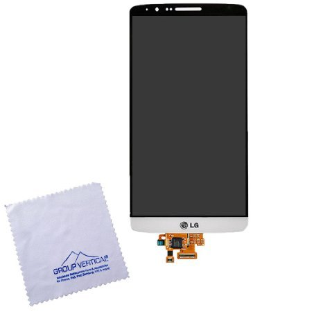 Group Vertical Replacement LCD Touch Digitizer Screen Assembly Compatible with LG G3 (Silk White) (D85, VS985, LS990, US990, F400) (GV+ Performance)