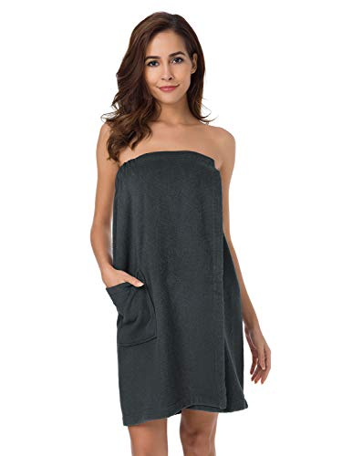 SIORO Asciugamani da bagno donna, asciugamani in cotone di bambù, accappatoi, accappatoi, accappatoi per doccia con chiusura regolabile e tasche, grigio antracite XL