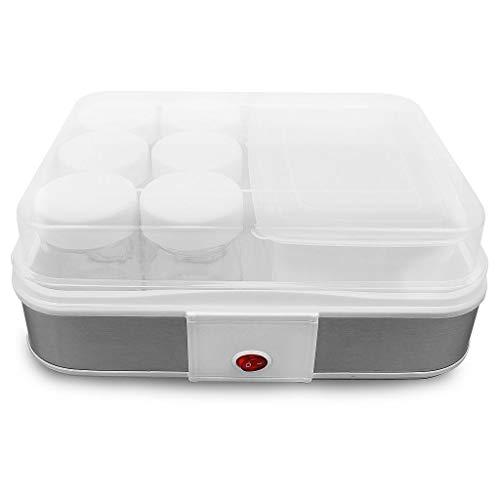 Todeco - Yogurtiera, Macchina Per Yogurt Fatto In Casa - capacità barattolo: 0,21 L - Potenza: 21,5 W - ciotola di yogurt con filtro e 6 vasetti, 30,6 x 25 x 12,4 cm, Bianco