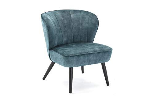 Duhome Sessel aus Stoff Samt Polstersessel Vintage Design Polsterstuhl Metallbeine 8103B, Farbe:Blau, Material:Samt Vintage