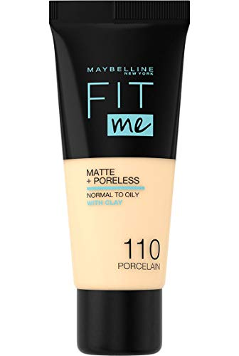 Maybelline New-York - Fond de teint Fluide Fit Me Matte & Poreless - Peaux normales à grasses - Teinte : 110 Porcelaine - 30 ml