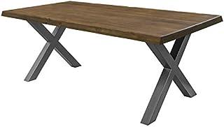 comprar comparacion COMIFORT Mesa de Comedor - Mueble para Salon Oficina Despacho Robusto y Moderno de Roble Macizo Color Nogal con Lado Ondul...