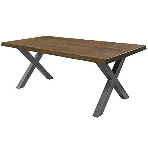 COMIFORT Mesa de Comedor - Mueble para Salon Oficina Despacho Robusto y Moderno de Roble Macizo Color Nogal con Lado Ondulado, Patas de Acero X-Forma Negras (200x100 cm)