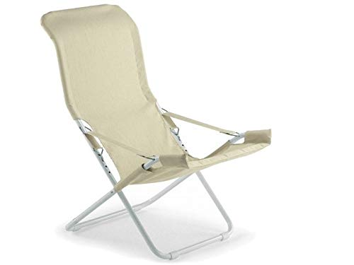 Fiesta deck chair steel white frame and canvas seat with ecrù padded