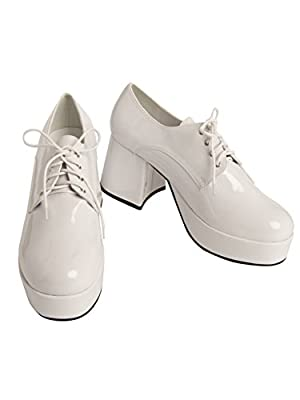 Mens White Pimp Platform Shoes from BuyCostumes