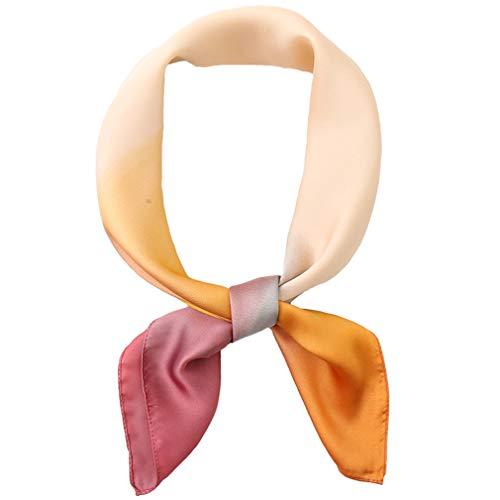 LMVERNA Large Square Satin Silk Like Lightweight Hair Scarf Gradiente Headscarf Sleep Wraps for Women (Yellow+Pink)