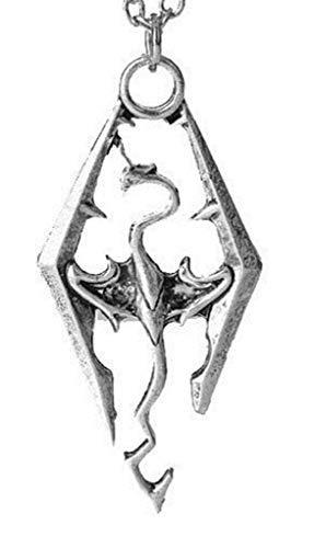 Collana Drago Ciondolo Dragone Skyrim Elder Scrolls Bellissimo Regalo Uomo Donna Bambini Unisex Colore Argento