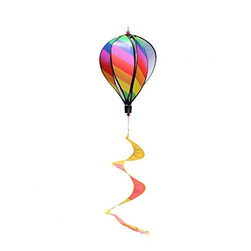 lujiaoshout Heißluft-Ballon-drehender Wind-Streifen Windmühle Im Freien hängenden für Park Dekoration Garten Ornamente Regenbogen