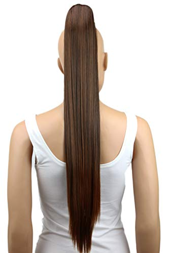 "PRETTYSHOP Hairpiece Ponytail Clip on Extension Long hair smooth Heat-Resisting 27"" brown mix # 2T30 H81"
