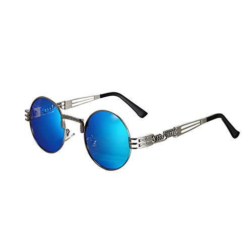 Aroncent Herren-Sonnenbrille, polarisiert, UV-Schutz, rund, blaues Glas
