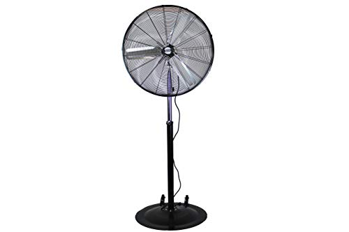"""K Tool International 30"""" Adjustable High-Velocity Pedestal Fan; Non-Oscillating, Cool Your Shop, Garage, or Workspace   Residential, Commercial, & Industrial Fan; 3- Speed; KTI77730"""