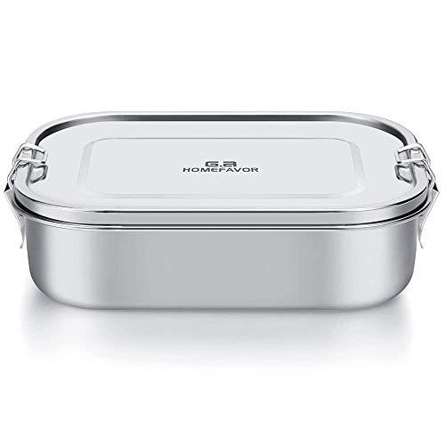 G.a HOMEFAVOR 1400ml Lunch Box Bento Box in Acciaio Inossidabile per Bambini e Adulti, Contenitore Scatola per Il Pranzo a Prova di Perdite con Chiusu