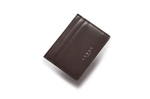 LEROY Paris ® Kreditkortsfodral äkta läder kassaskåp plånbok smal plånbok portmonnä med RFID-skydd kortfodral praktisk plånbok liten smal