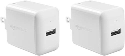Amazon Basics One-Port 12W USB Wall Charger for Phone, iPad, and Tablet, 2.4 Amp, White, 2 Pack