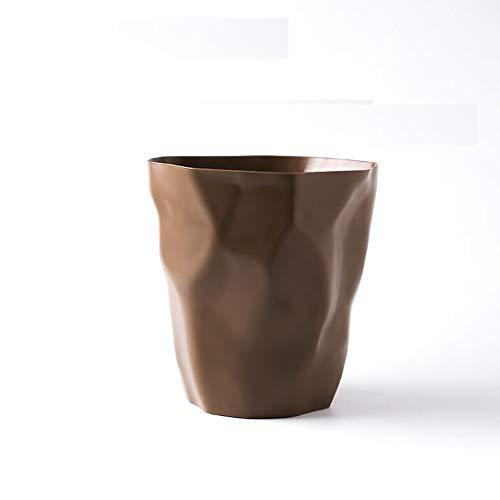 GHMOZ Einfache Mülleimer nach Hause Wohnzimmer Schlafzimmer Plissee Papierkorb Küche Mülleimer (Color : Brown, Size : 25cm*24.cm*16cm)