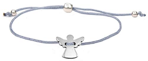 Milosa Konfirmations Armband Engel, Kinder Armband Textil Band Grau Größenverstellbar,Armband Geschenk Firmung Kommunion