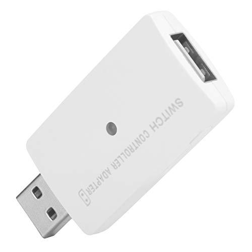 Pwshymi Adaptador USB inalámbrico con Mango confiable Adaptador de Controlador Bluetooth portátil Duradero para Consola de Juegos PS4 Switch(White)