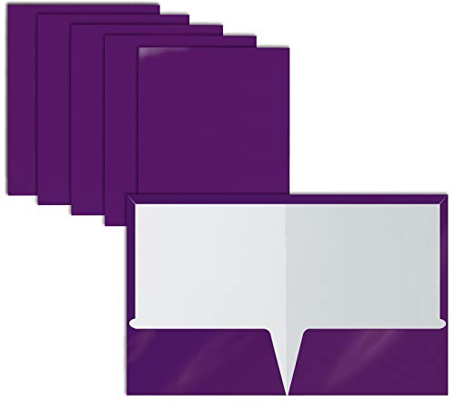 2 Pocket Glossy Laminated Purple Paper Folders, Letter Size, Purple Paper Portfolios by Better Office Products, Box of 25 Purple Folders