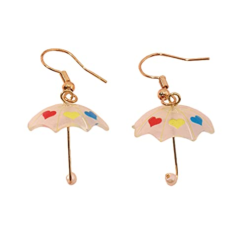 Pendientes de mujer con diseño de paraguas, color de contraste, todos coinciden con ligeros, lindos aretes de gancho, simples pequeños para mujeres y niñas, regalos, Resina,