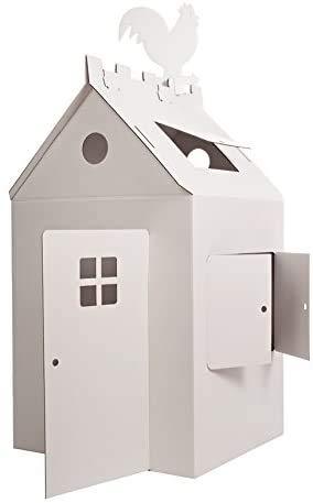 Bibabox Das große Papphaus Malhaus Spielhaus, aus stabiler weißer Pappe, 120 x 70 x 66 cm