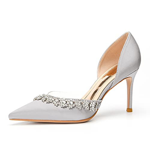 Lutalica W Zapatos de tacón medio con diamantes de imitación de satén ahuecados para mujer, para bodas, fiestas de noche, gris, 39 EU