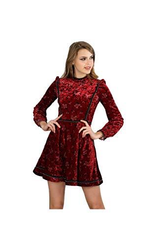 H Preppy Vestido Terciopelo Flor 7650 Color Granate,Talla XS