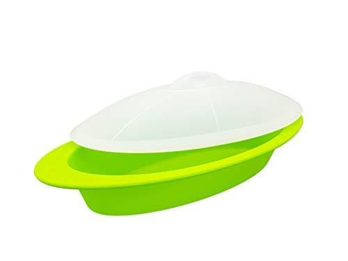 Mun Home Vaporera | Estuche de Silicona para Microondas y Hornos | Cocina al Vapor | Vaporera Libre de BPA | Antiadherente | Soporta hasta 230º Grados. (Verde)