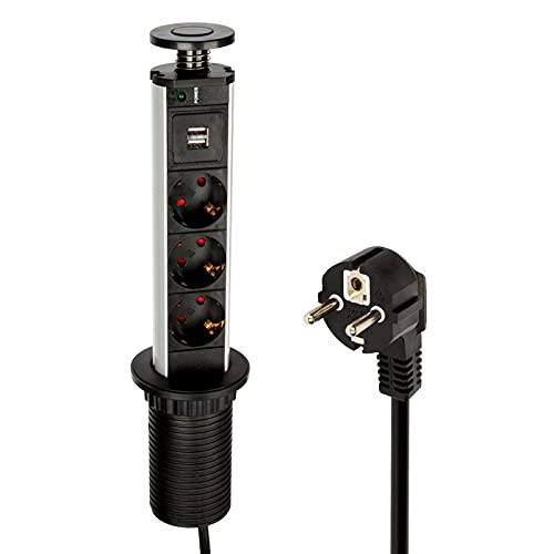 Logtronik Multiprise Encastrable Bloc Prise Escamotable à la Norme Européenne - avec 3 Prises de Courant 2 USB Prises - Diamètre 60mm Câble 1,8m - pour Cuisine ou Bureau (Noir)